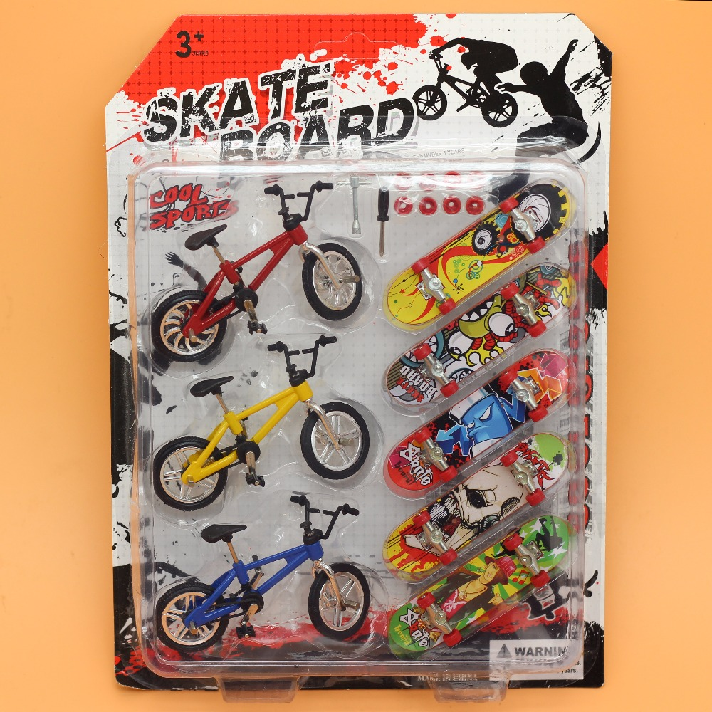 8Pcslot Bicycle bike Finger Skateboards Toys for Children Novelty Fun Mini Fingerboard funny Gift Kids Scooter skate board