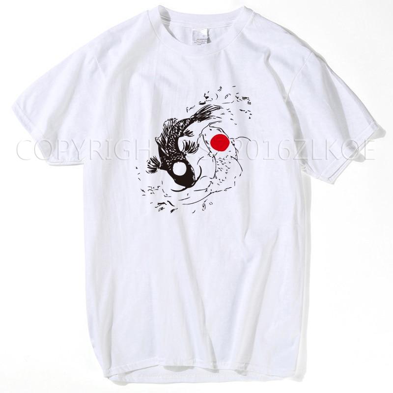 Vintage Tees Funny O-Neck Two Koi Fish T Shirt Japanese Yin Yang Carp Short-Sleeve Mens 2019 Summer White Top T Shirt Streetwear