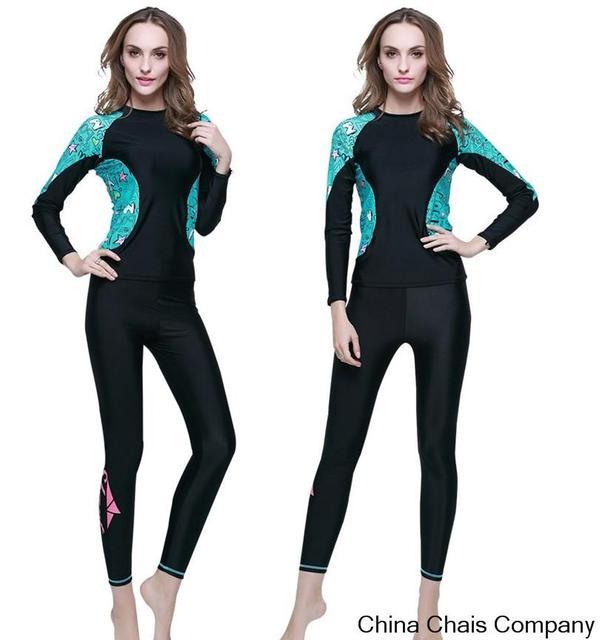 d1fea7b2eef98 2 unids set UPF50 lycra rash guard manga larga para mujer traje de baño  nadar