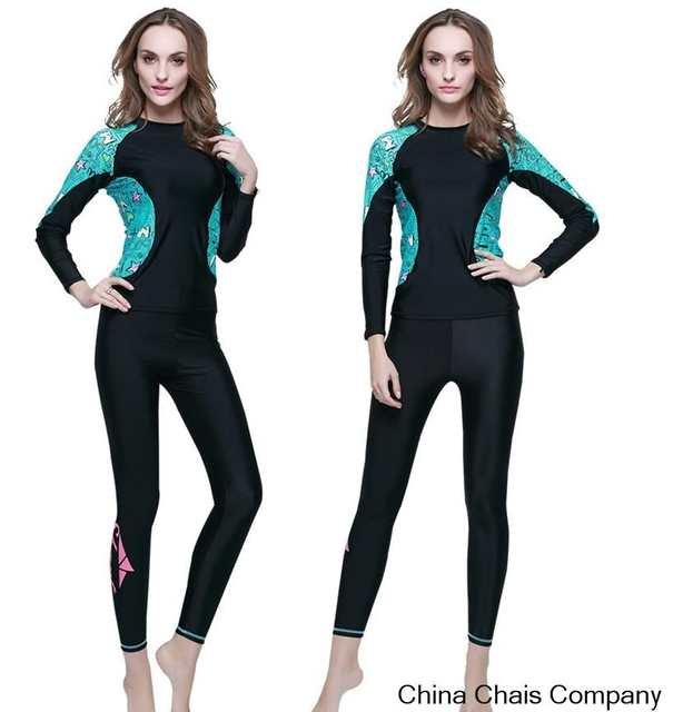 33d8165894 Online Shop 2pcs set womens long sleeve rash guard lycra UPF50 swimwear  swim surf rashguard long swimming suits for women