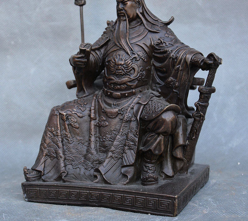 China Pure Bronze Copper Guan Gong Yu Warrior God Kwan Kung Pavilion Ares Statue