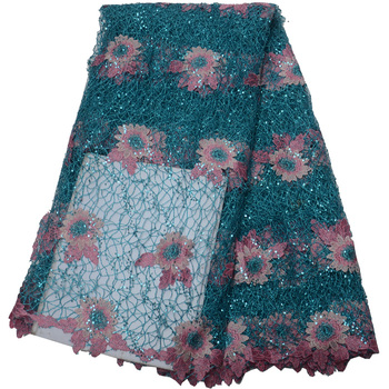 Free shipping (5yards/pc) very beautiful African guipure lace fabric in blue pink with lots of sequins for party dress WLP977