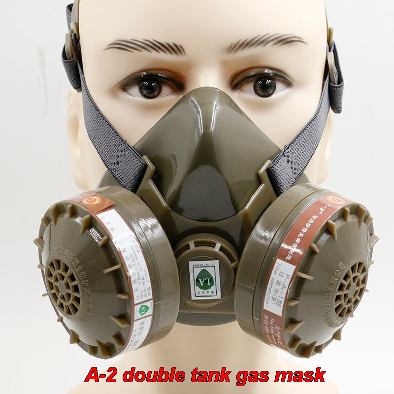 New A - 2 pairs of organic gas tank gas mask activated carbon masks chemical paint grinding dust respirator package mail activated carbon gas masks no 3 single tank protective half mask respirator against organic gases benzene gasoline acetone