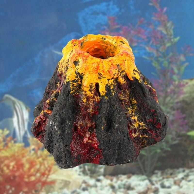 Streng Aquarium Speelgoed Ornament Vulkaan Vorm Ornament Airbell Steen Aquarium Zuurstof Pomp Luchtpomp