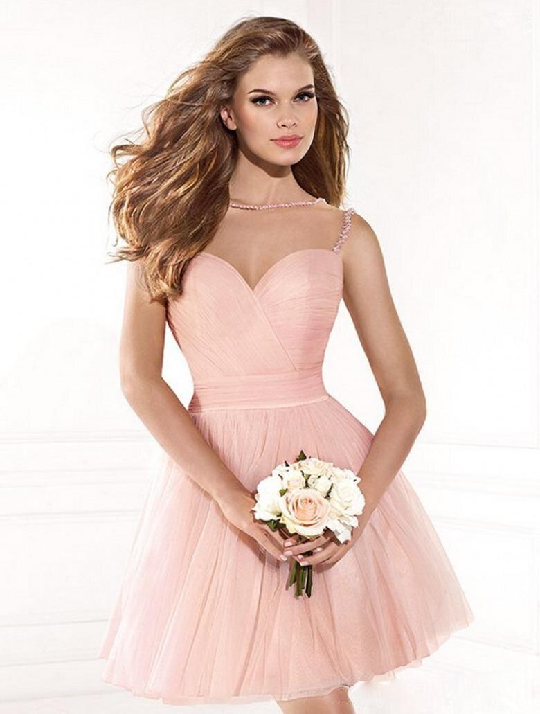 Vestidos cortos de fiesta color rosa palo