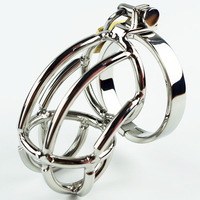 Chastity Belt Men's Cock Cage Stainless Steel Penis Ring Lock Adult Sex Product