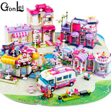 (GonLeI) City Girls Princess Outing Bus Car Building Blocks Sets Bricks Kids Classic Toys Compatible With Legoinglys Gilr Friend