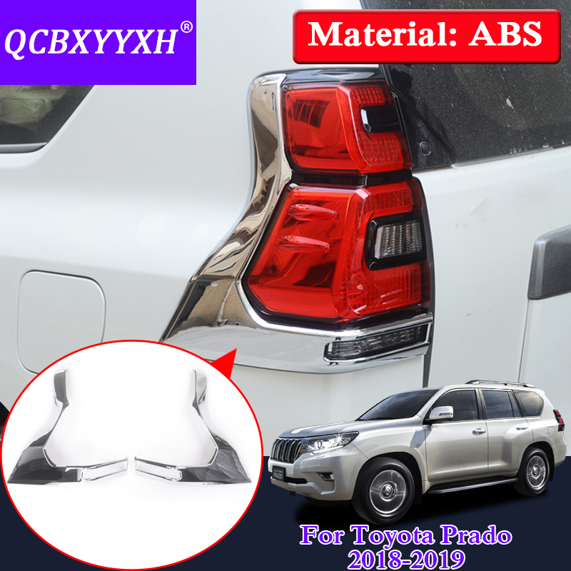 QCBXYYXH Car Styling ABS Rear Fog Light Trim Cover For Toyota Prado 2018 2019 External Rear Taillight Sequins Decoration Sequins