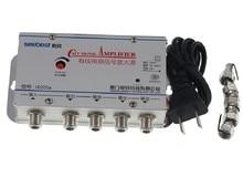 EU stecker 4 Weg CATV VCR TV Antenne Signal Verstärker Booster Splitter 30DB 45 880MHz 220V