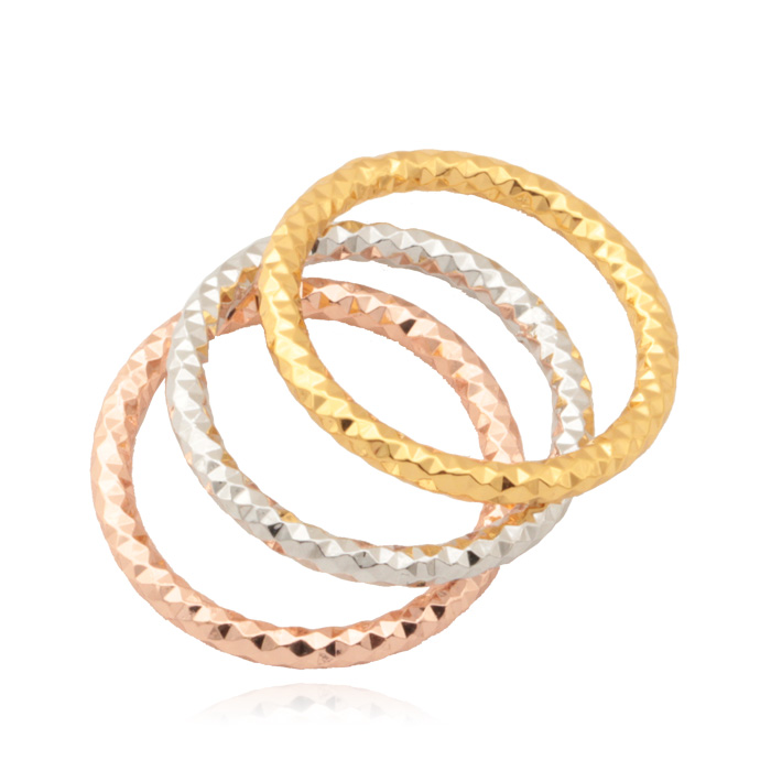 d3f67076befe Anillo redondo set lot 3 unidades Rosa doradoamarillo oro color moda  joyería regalo Anillos para las mujeres joyería r5234