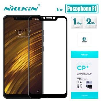 Xiaomi Pocophone F1 CP + Cobertura Completa Poco F1 Telefone Nillkin Vidro Protetor de Tela De Vidro Temperado para Pocophone F1 Nilkin HD Vidro
