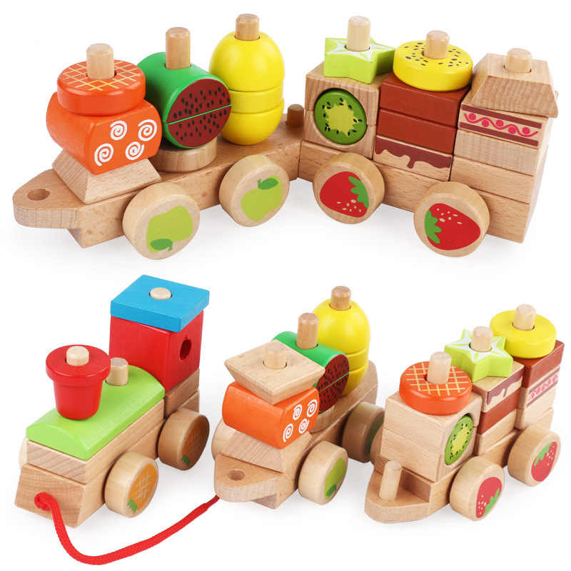 1pc Wooden Children Early Education Trailer Blocks 1 3 Years Old Fruit Train Set Puzzle Power Drag Toy