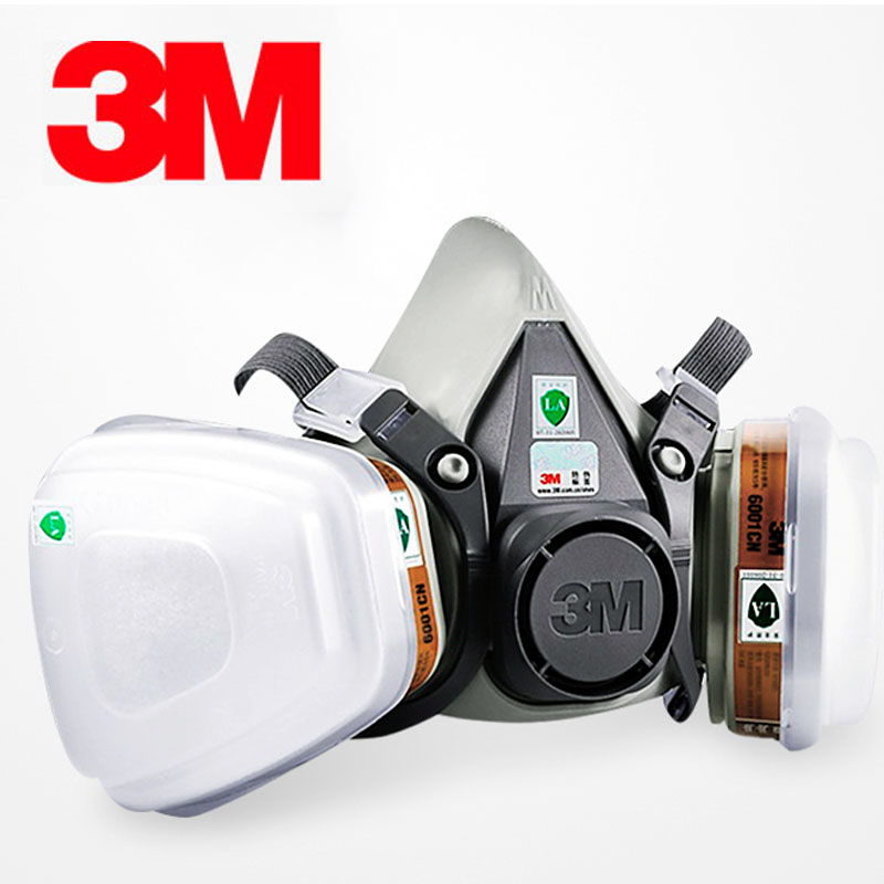 <font><b>3M</b></font> <font><b>6000</b></font> Series Half Face Mask 6100/6200/6300 with 6001 Gas Cartridges 7 pcs Suit for Painting Spraying Against Organic Vapor image