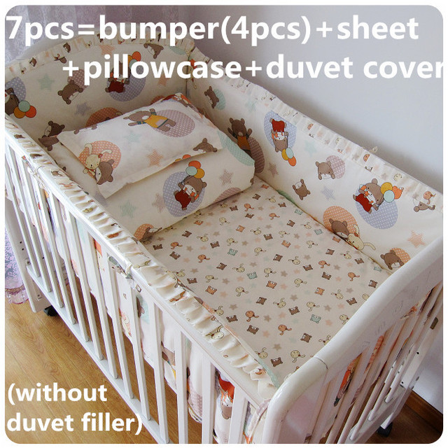 Discount! 6/7pcs Bear Baby bedding set Embroidery Baby cot bedding set,120*60/120*70cm