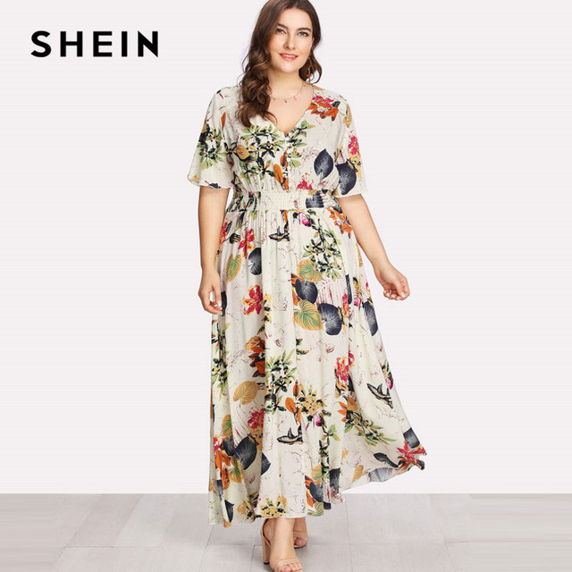 02dd370ee0 SHEIN Floral Plus Size White Dress Women Maxi Long Dresses Large Sizes  Print V-neck Button Front Shirred Waist Tropical Dress