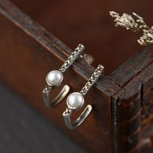 S925 silver retro Thai silver craft earrings silver inlaid pearls simple fashion earrings s925 filaments shaolan craft silver inlaid huang yusui pendant in front of blessing silver supply