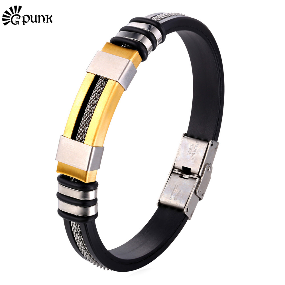 Men Bracelet Punk Wristband Bracelet 316L Stainless Steel Never Fade yellow Gold color Bangle For Men Wholesale H1796G