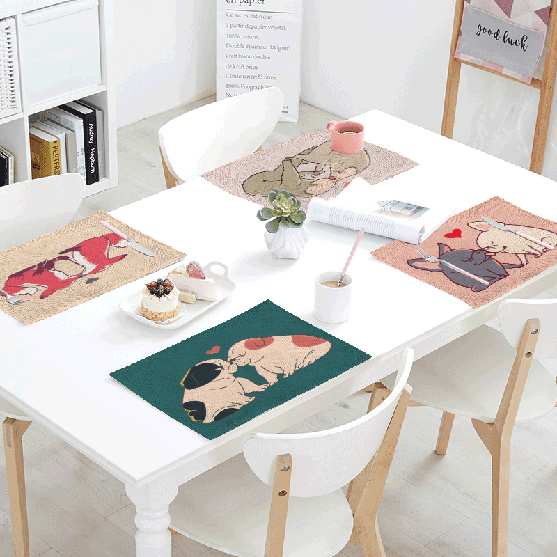 Cartoon French Bulldog Table Napkins Red Heart Pugs Sea Lion Printed Cloth Dinner Napkins Tea Towels For Decor Dining Accessorie