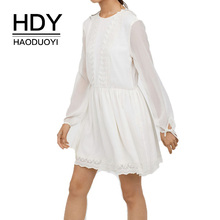 HDY Haoduoyi Lace Chiffon Dress Women 2019 Summer Autumn Simple And Sweet Campus Style Back Hollow Strap Leisure
