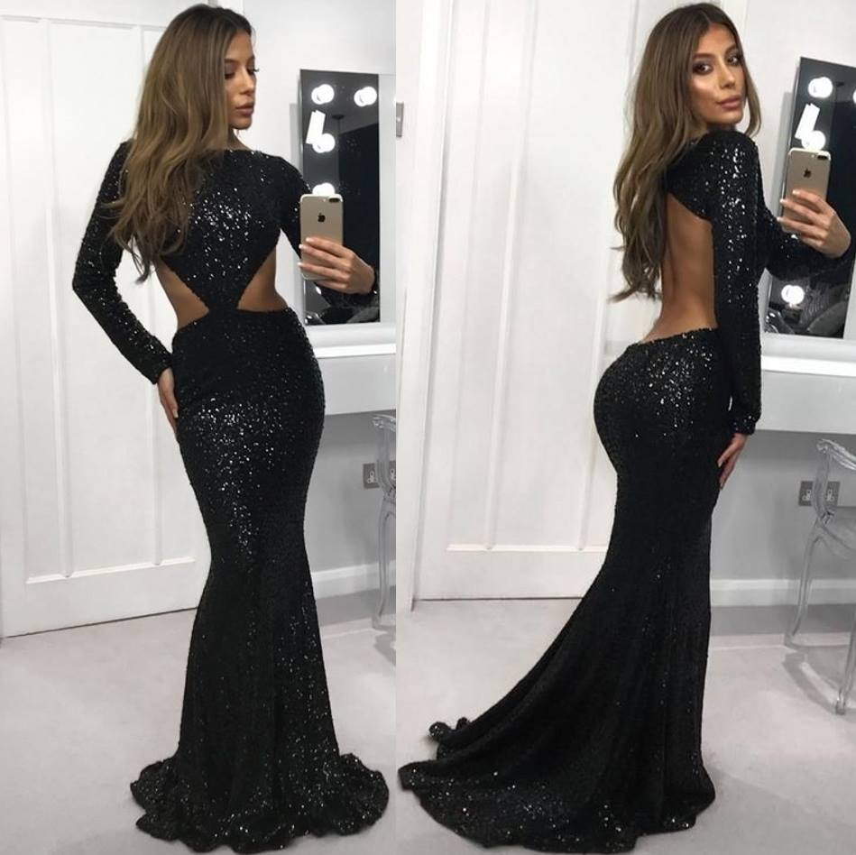 Sexy Black Backless Mermaid Long   Prom     Dresses   2019 Elegant Boat Neck Sequins Evening   Dresses   Custom Make Plus Size Party   Dress