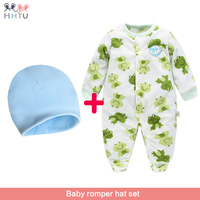 HHTU 2018 Rompers Hat Set Flannel Clothes Newborn Autumn Winter Long Sleeved Coveralls Baby Clothing For