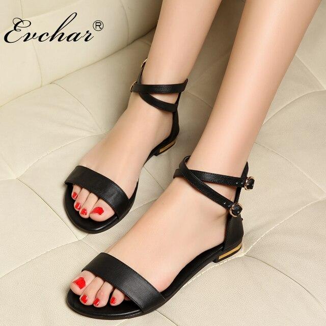 d80cc9ea1e14e Kobiety wygodne sandały pełne ziarna skórzane płaskie gumowa podeszwa  klamra prawdziwej skóry rozrywka buty damskie rozmiar