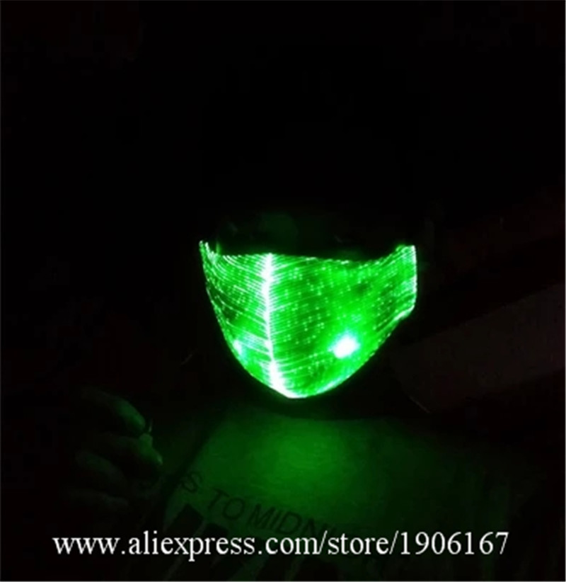 Coloré Led Fiber optique lumineux fête Mas Led brillant éclairer masque de noël Halloween événement illuminé boîte de nuit M