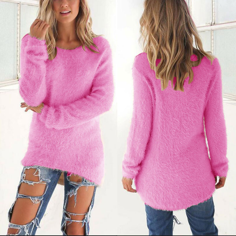 Spring Autumn Sweater Women Loose Long Sleeve Solid Warm Pullovers Tops GDD99