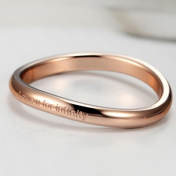 Classic Alternative Design Shaped Curved Woman Ring High Quality Titanium Steel Love Ring For Girl And Woman Best Gift Ring