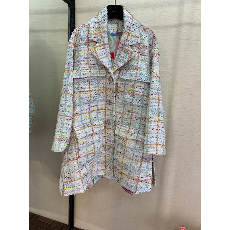 2019 CC Runway Fashion Holiday Series, New High-End Custom, Colorful Plaid Long Coat, Four Pockets Of Women's Coat Jacket.