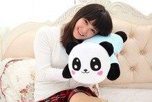 new plush smile panda toy stuffed blue stripe cloth panda pillow gift about 68x33x22cm