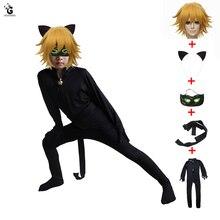 купить Boy Clothing Cat Noir Cosplay Costume Sets Halloween Christmas Ladybug Jumpsuit Adrien Marinette Party Clothes 5PCS дешево
