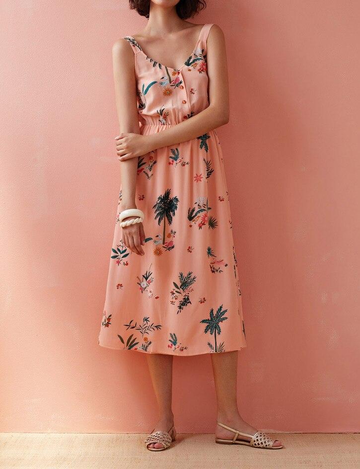 탑 100% viscose 핑크 코코넛 그 로브 인쇄 버튼 프론트 미디 스트랩 드레스 2019ss 새로운 꽃 프린트 민소매 탱크 숙녀 복장-에서드레스부터 여성 의류 의  그룹 1