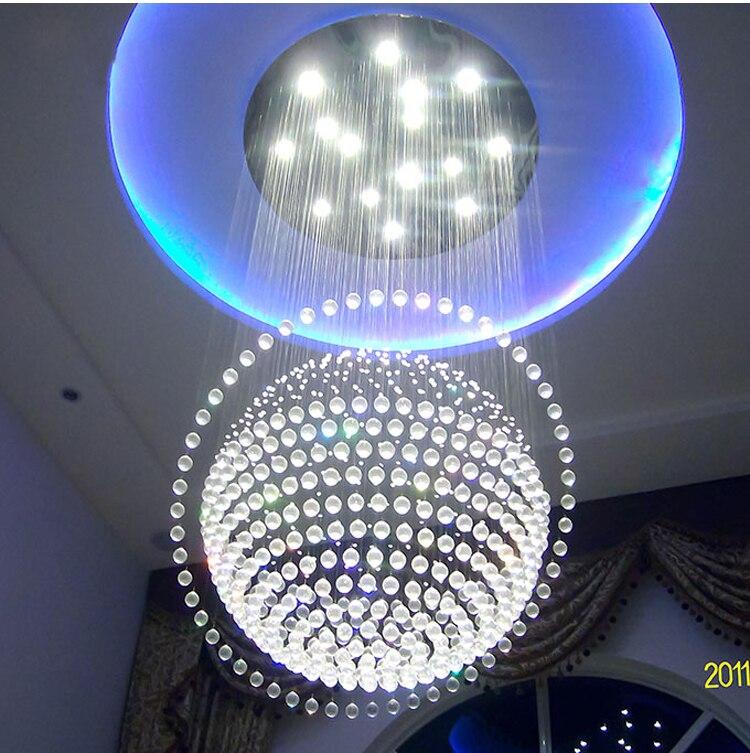 Grande Lustre De Cristal Moderna Escada Foyer Lâmpadas Globle Luz do Candelabro Iluminação Incluído Frete Grátis