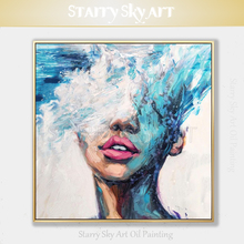 Gifted Artist Hand-painted High Quality Abstract Blue Portrait Oil Painting on Canvas Knife Sexy Lip Lady