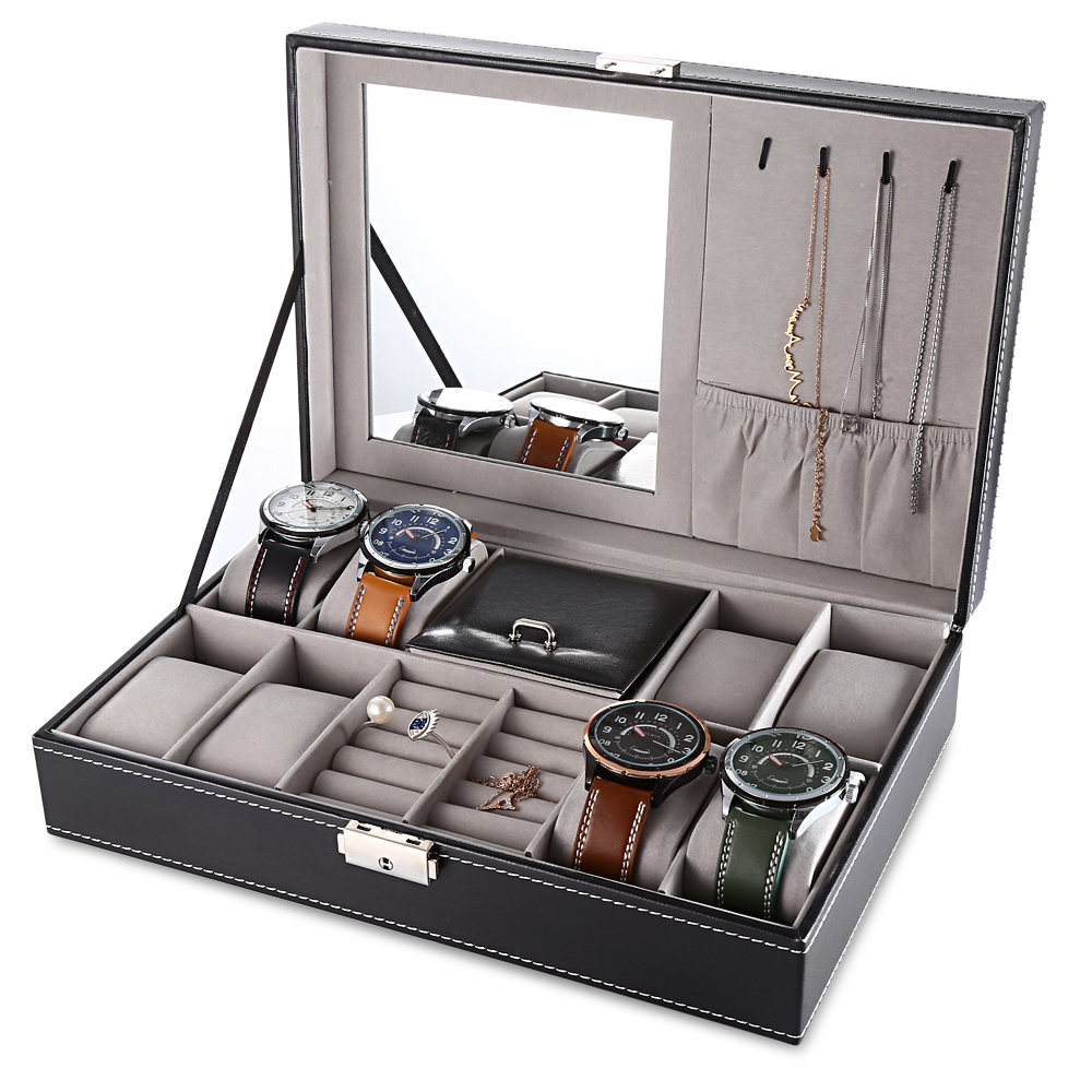 High Quality 8 Grid Slots Watch Display PU Leather Box ...