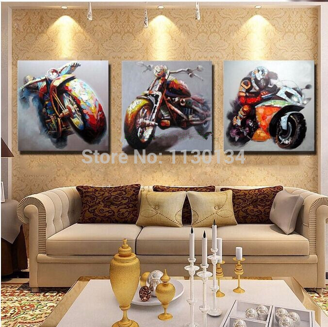 Motorcycle Home Decor : Motorcycle triptych home decor diy diamond painting resin