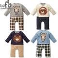 Розничные 1-3years 4 модели с длинными Рукавами мальчиков ползунки медведь сетки дети Детские комбинезоны Одежда мода весна осень