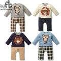 1-3years 4 patrones de Manga Larga de los Bebés del mameluco al por menor del oso rejilla niños mono Infantil Ropa de moda de primavera otoño