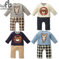Retail 1-3years 4 patterns long-Sleeved Baby boys romper bear grid kids Infant jumpsuits Clothing fashion spring fall