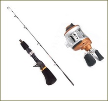 high Quality ice fishing rod combo 68cm casting carbon rods with baitcasting reels