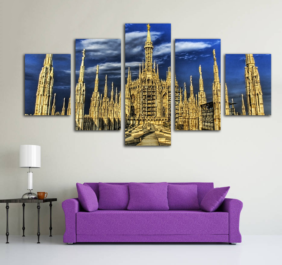 Print Painting For Living Room Home Decor 5 Panel Unframed Milan Cathedral Cuadros Modular Pictures Poster High Quality Canvas