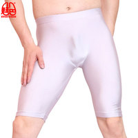 Sexy Men Oil Shiny Lycra Leggings Seamless Solid U Convex Pouch Half length Boxers Long Leg Underpants Boxer Gay Wear F49