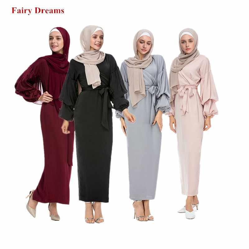 b4d54f2873b5 Abayas Women Islamic Clothing Long Sleeve Fashion Bandage Hijab Dresses  Maxi Muslim Dress Bangladesh Kaftan Dubai