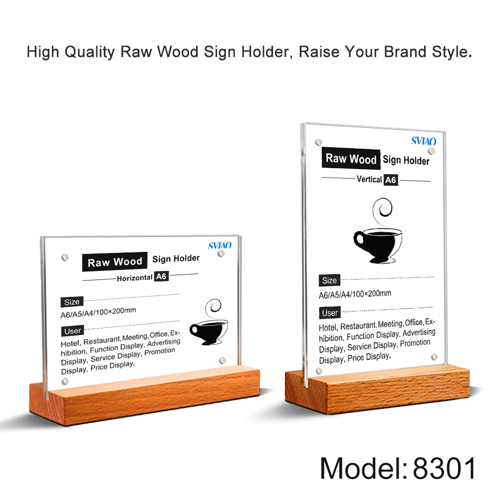 A6 Vertically Loading Table Wood Base Countertop Clear Acrylic Menu Poster Sign Holders Stand Board for store