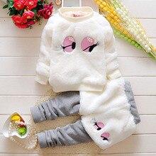 Girls Tracksuit Clothing-Set Sweater Winter Plus Cute 2pcs Pant Velve Thick Cartoon