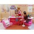 Móveis em miniatura Doces & Ice Cream Shop para Barbie Doll House Pretend Play Brinquedos para a Menina Frete Grátis