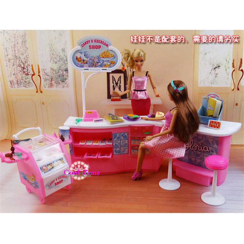 Miniature Furniture Candy & Ice Cream Shop For Barbie Doll House Pretend Play Toys For Girl Free Shipping