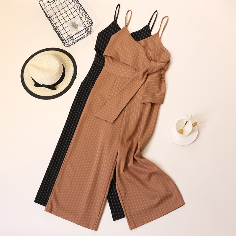 Summer Stripe Camisole Jumpsuit Women V-neck Striped Sexy High Waist Wide Leg Pants Office Ladies Red Black Overall Bodysuit 73