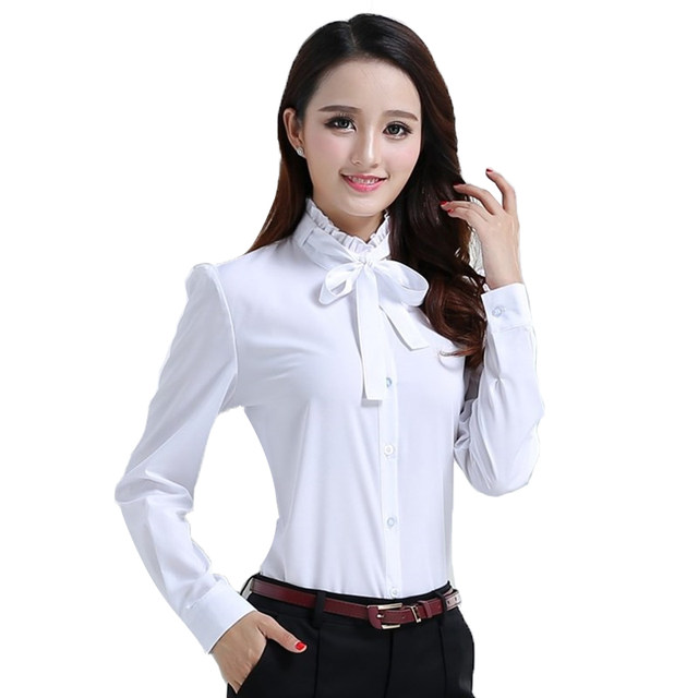Online Shop Brand Office Blouse Shirt White Elegant Vintage Work ...